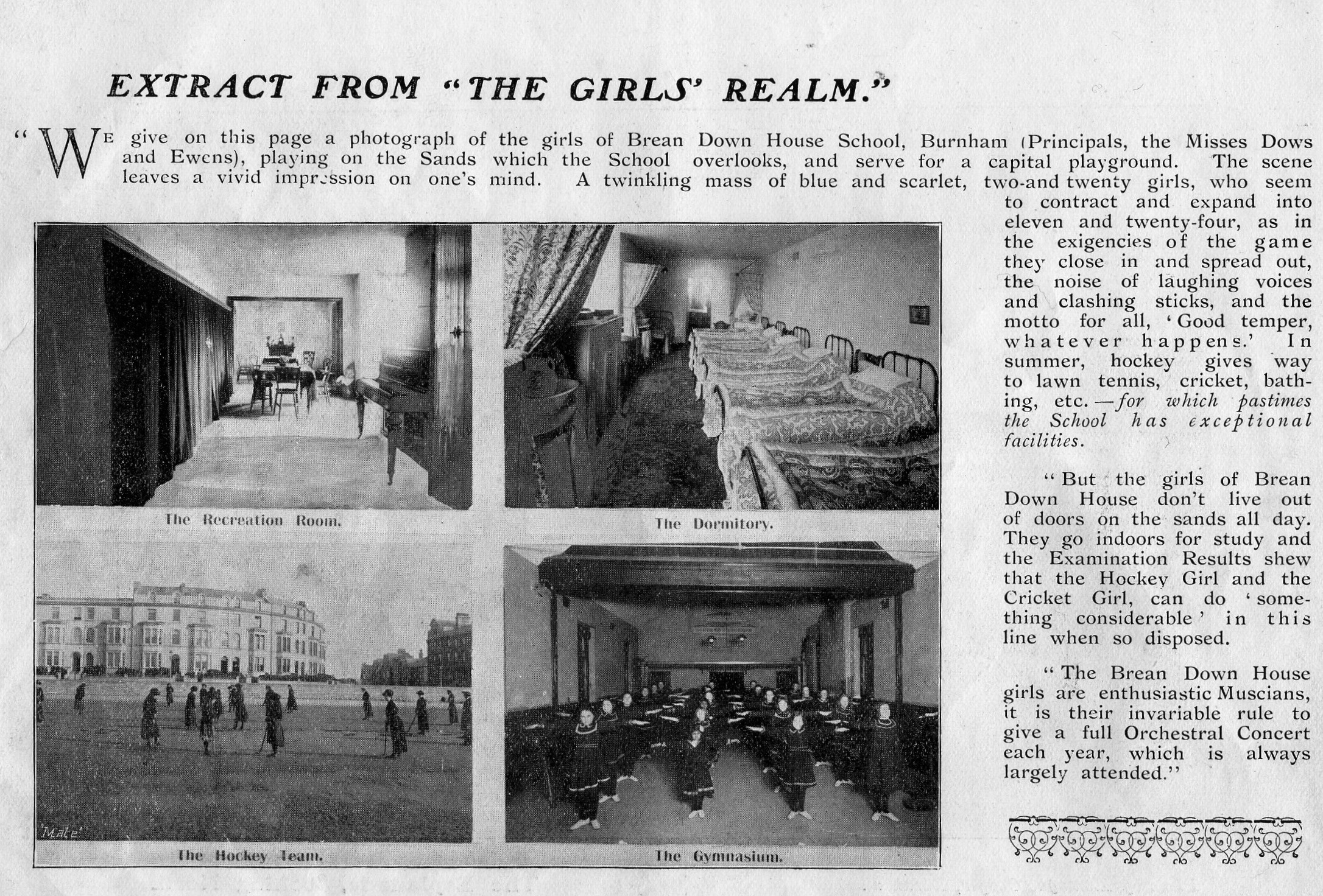 Brean down House School . This article was taken from the Mate's Illustrated Guide of Burham published in 1903. The Guide was owned by