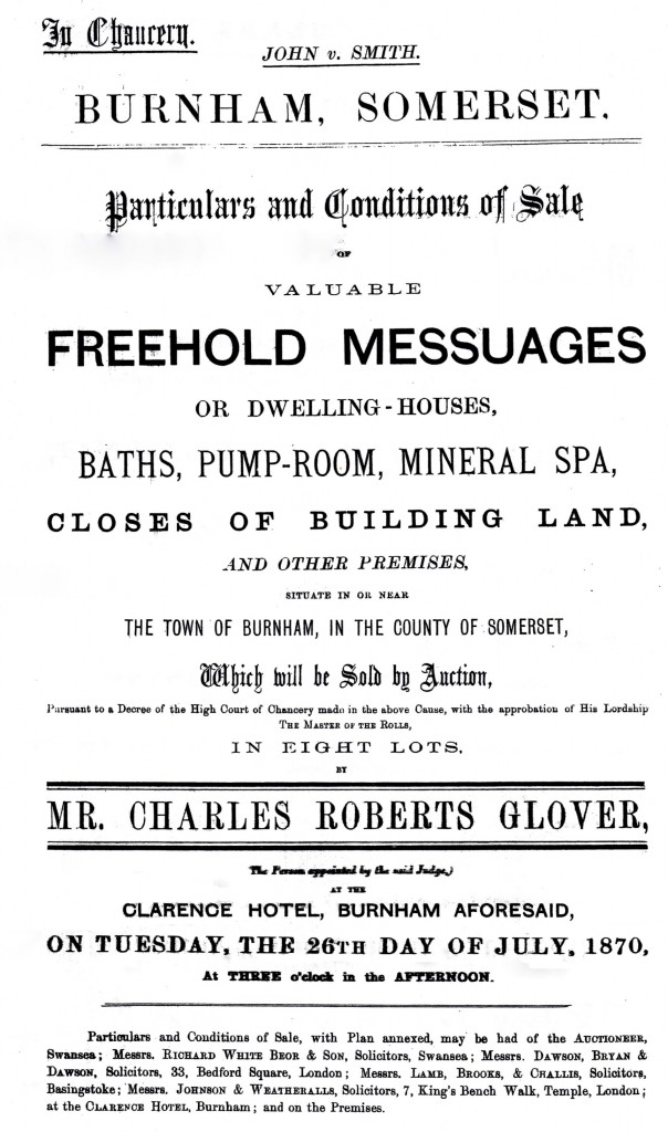 Sale notice by Mr Charles Roberts Glover
